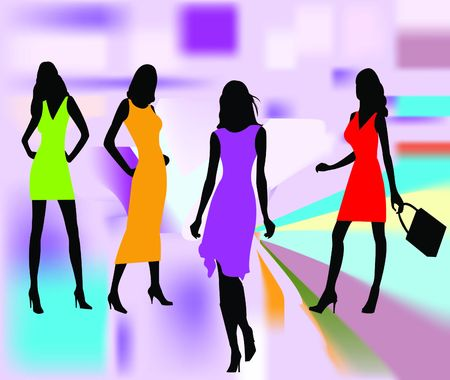 skirt suit: Fashion girls vector illustration