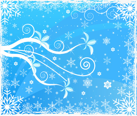 Floral winter background - vector Vector