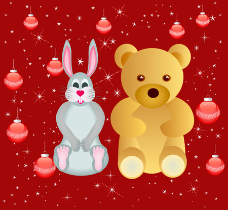 bunny xmas: Abstract  background  with rabbit and bear - vector