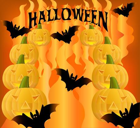 creeps: Halloween calabaza con resplandor desde el interior  Vectores