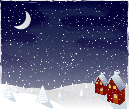 Winter magic night, vector Vector