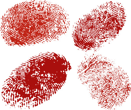 prison system: Vector finger print in red