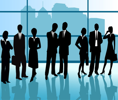 casual business team: Business People - vector silhouette illustration Illustration