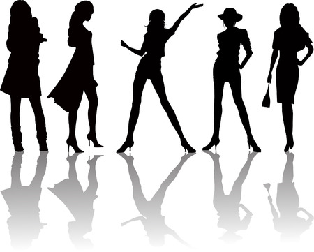 skirt suit: Sexy gurls silhouettes - vector