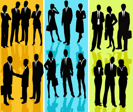 interacting: Business People - vector silhouette