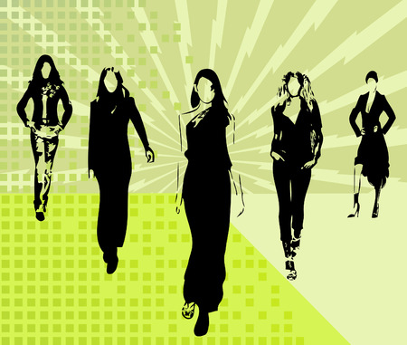 Fashion girls artistic vector Illustration