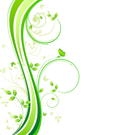 green swirl: Floral Background  - vector