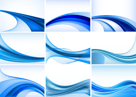 abstract waves:   Abstract blue background vector set
