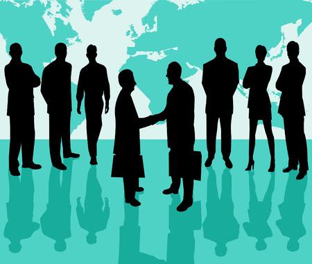 Business Team vector silhouette illustration Illustration