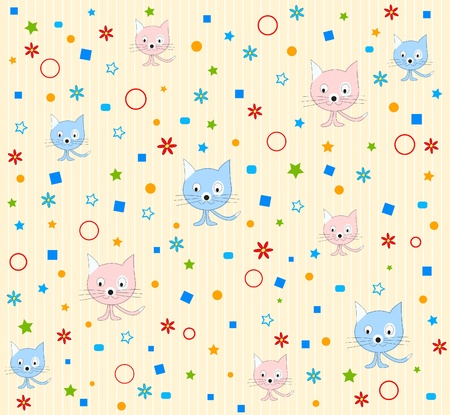 Cat pattern background vector Stock Vector - 9607582