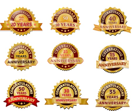 Anniversary gold badge set Stock Vector - 21597719
