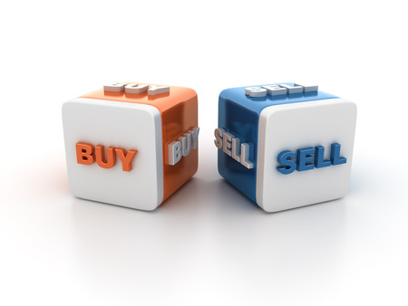 buzzword: Buzzword Blocks Spelling BUY SELL Words on White Background - High Quality 3D Rendering Stock Photo