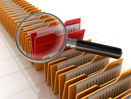 Folders Search with Magnifying Glass - High Quality 3D Rendering Stock Photo