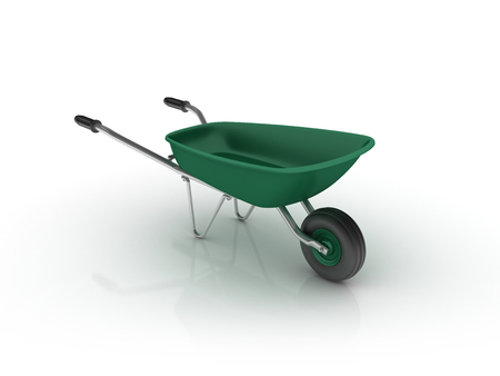 Wheelbarrow on White Background - High Quality 3D Rendering Stock Photo