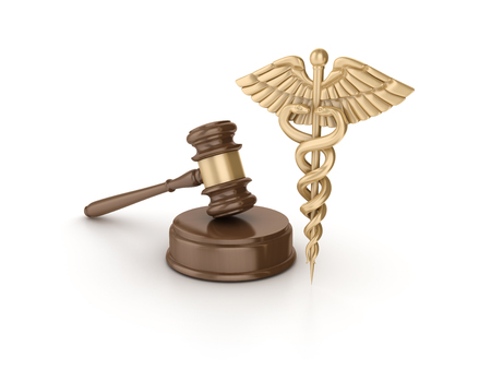 Gavel With Medical Symbol on White Background - High Quality 3D Rendering Stock Photo