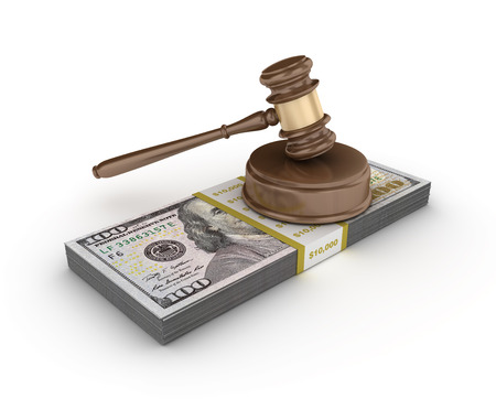 Gavel With Dollar Bills on White Background - High Quality 3D Rendering