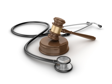 Gavel with stethoscope on White Background - High Quality 3D Rendering Stock Photo