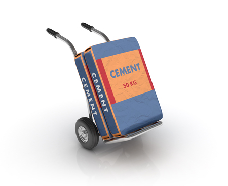 Hand Truck with Cement Bags on White Background - High Quality 3D Rendering