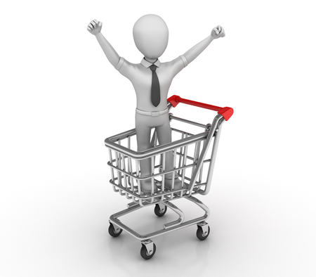 clear out: Businessman Character and Shopping Cart - High Quality 3D Rendering