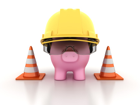 Piggy Bank With Construction Helmet and Traffic Cones - High Quality 3D Rendering Stock Photo