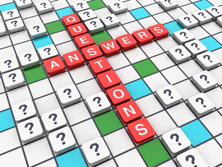questions: Crossword Series - Answers Questions Concept - High Quality 3D Rendering