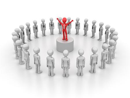 liderazgo empresarial: Caracteres con el liderazgo de negocios - equipo del concepto - Representación de la alta calidad 3D