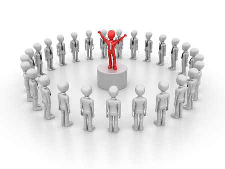 business leadership: Characters With Business Leadership - Teamwork Concept - High Quality 3D Rendering Stock Photo