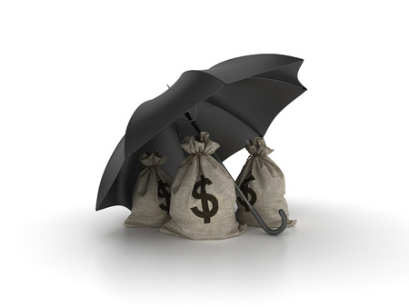 Money Sack with Umbrella on White Background - High Quality 3D Rendering