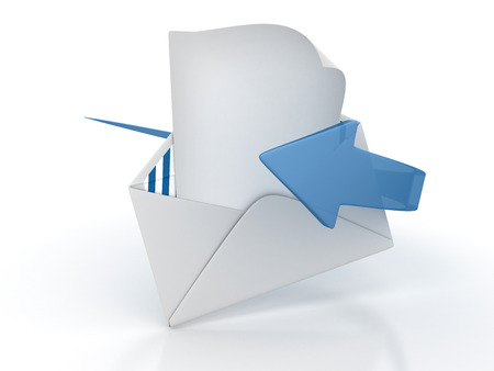 Envelope and Blank Paper with Arrow - High Quality 3D Rendering