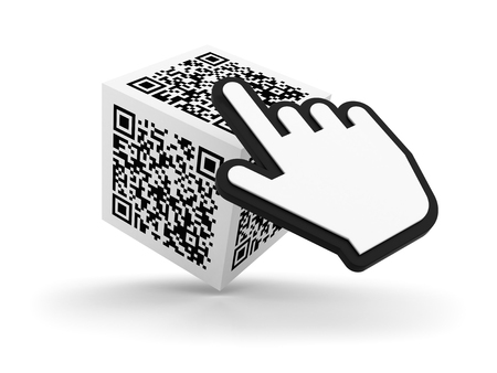 QR Code Cube with Hand Cursor on White Background - High Quality 3D Rendering Stock Photo