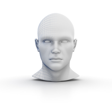 Human Head Wireframe on White Background - High Quality 3D Rendering Stok Fotoğraf