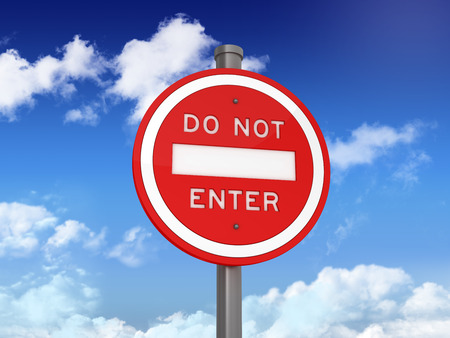 do not enter: Road Sign with DO NOT ENTER Text on Blue Sky and Clouds Background - High Quality 3D Rendering