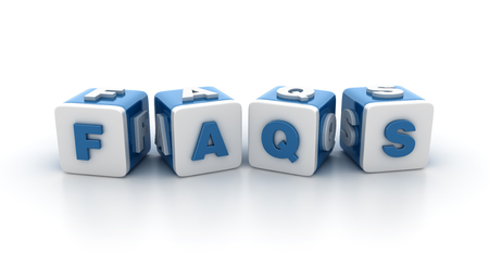 faq's: Buzzword Text Blocks Spelling FAQS on White Background - High Quality 3D Rendering