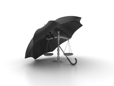 over weight: Open Black Umbrella over Weight Scale - High Quality 3D Rendering