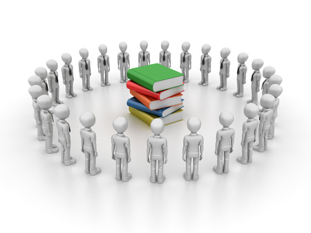 school strategy: Businessman with Books Characters - High Quality 3D Rendering