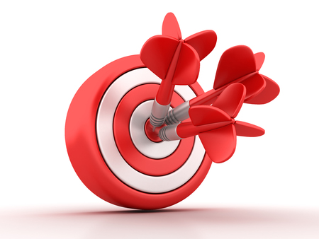 Target With Darts - High Quality 3D Rendering