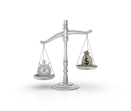 high scale: Scale with Stopwatch and Money Sack on White Background - High Quality 3D Rendering