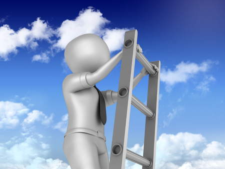 Businessman Stair With Blue Sky and Clouds on Background - High Quality 3D Rendering Stock Photo
