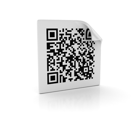 scan paper: QR Code Label on White Background - High Quality 3D Rendering