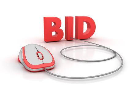 bid: BID palabra con el ratón del ordenador - la alta calidad 3D Rendering