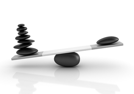totter: Stones Balancing on a Seesaw - Balance Concept - High Quality 3D Rendering
