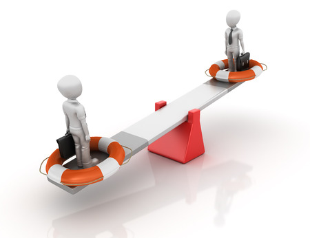 quality of life: Business Characters with Life Belt Balancing on a Seesaw - Balance Concept - High Quality 3D Rendering