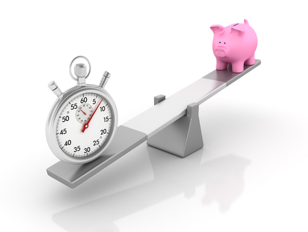 Stopwatch and Piggy Bank Balancing on a Seesaw - Balance Concept - High Quality 3D Rendering