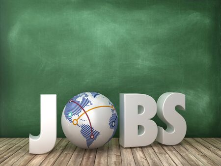 JOBS 3D Word with Globe on Chalkboard Background - High Quality 3D Rendering