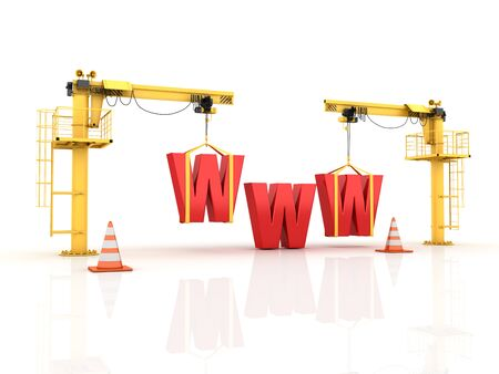 Cranes building the WWW Word - High Quality 3D Rendering Reklamní fotografie