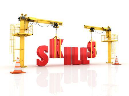 Cranes building the SKILLS Word - High Quality 3D Rendering Reklamní fotografie