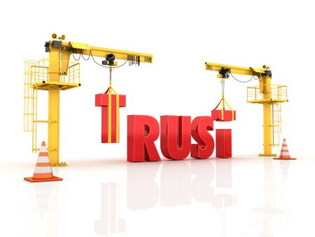 Cranes building the TRUST Word - High Quality 3D Rendering