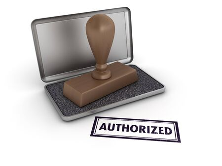 AUTHORIZED Rubber Stamp - High Quality 3D Rendering
