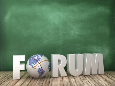 3D Rendering Word with Globe on Chalkboard Background - High Quality 3D Rendering