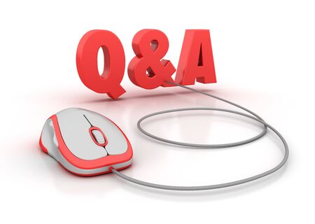 Q & A 3D Word with Computer Mouse - High Quality 3D Rendering Фото со стока
